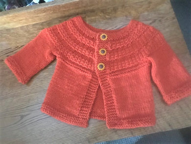 Hand Knitted Cardigan Size  6 to 18 Months
