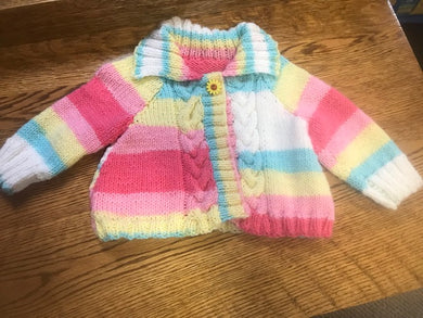 Hand Knitted Cable Sweater Size 3 to 6 Months