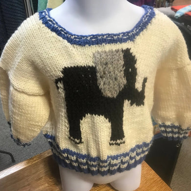 Hand Knitted Pullover with Elephant Design  Size 1 to 2 Years
