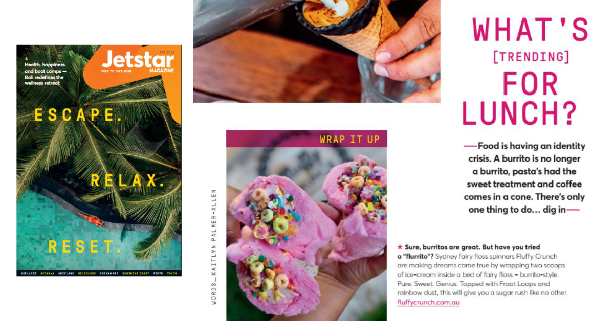 Fluffy Crunch Fairy Floss Flurrito Jetstar Australia magazine Feb 2019