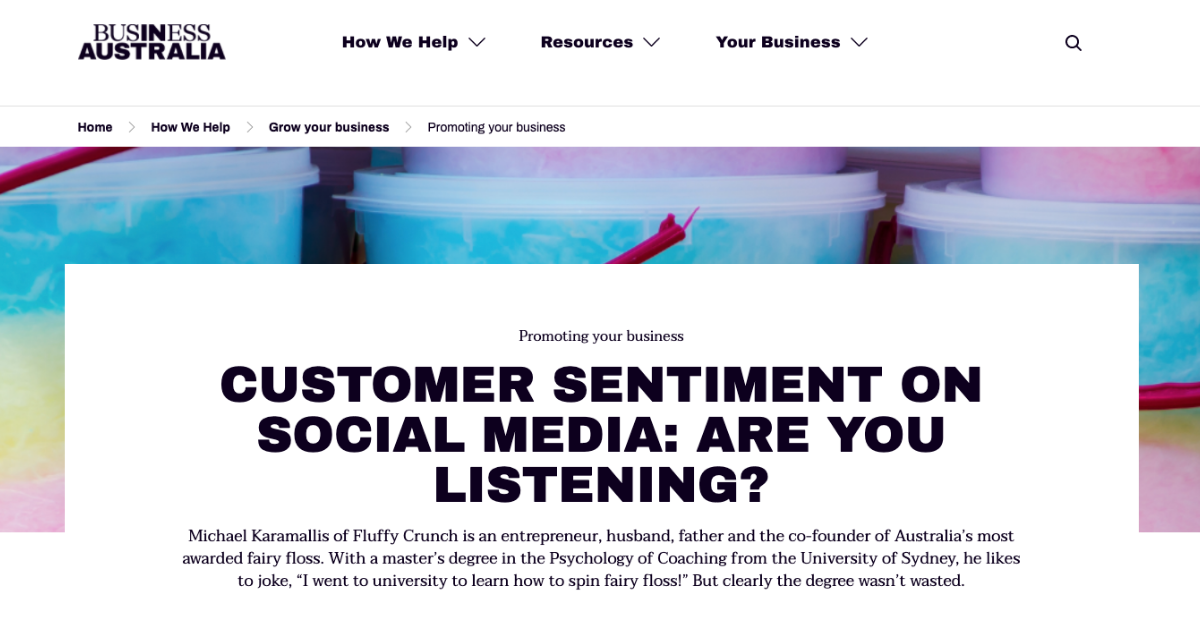 Business Australia - Fluffy Crunch Case Study Customer Sentiment on social media