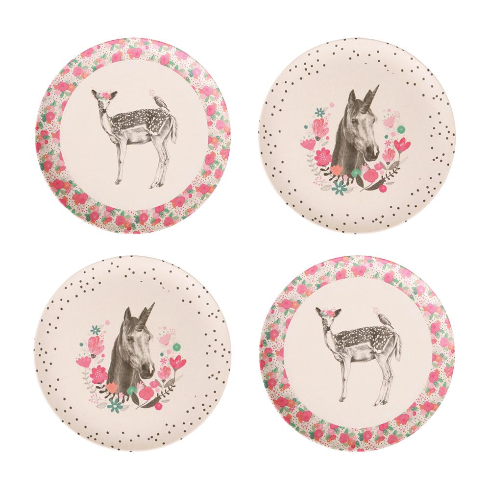 MAE-YP005 4pk Small Plates - Unicorn and Deer
