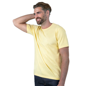 Light Yellow T-Shirt on Model Forward Facing at 3/4 Angle