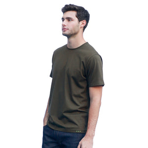 Men's Dark Green T-shirts Short Sleeve Side View