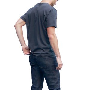 Men's Dark Gray T-shirts Short Sleeve Back View