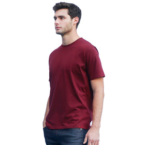 Men's Dark Red T-shirts Short Sleeve Side View