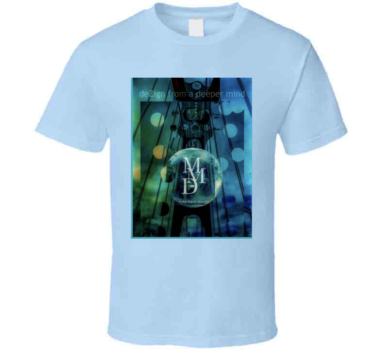 Mike Marin Dezign Logo -guitar Light Blue T Ladies T Shirt - SIGHT & SOUND Custom Design