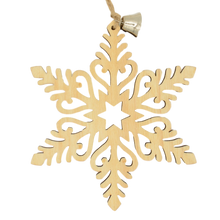 Load image into Gallery viewer, snowflake hanging wood christmas decoration