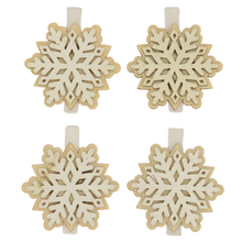 Load image into Gallery viewer, 4 snowflake christmas pegs
