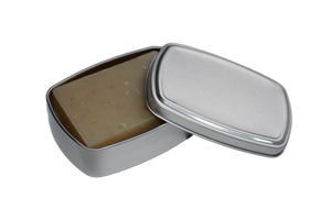 aluminium soap tin with soap inside