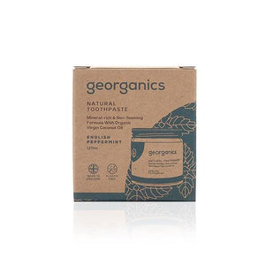 Natural toothpaste - peppermint, glass jar, plastic free, cardboard outer packaging