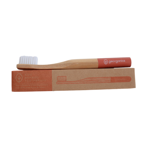 Childrens bamboo toothbrush - red