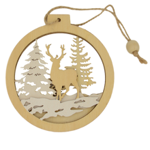 Load image into Gallery viewer, beech wood reindeer scene christmas decoration