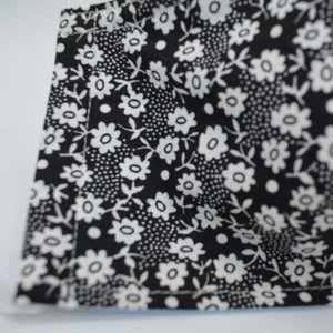 cotton washable face mask black flower design