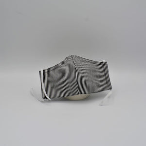 childs grey and white striped face mask