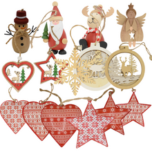 Load image into Gallery viewer, Various hanging wooden Christmas decorations