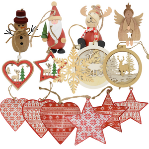 Various hanging wooden Christmas decorations