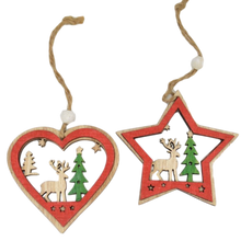 Load image into Gallery viewer, set of heart and star wooden christmas decorations