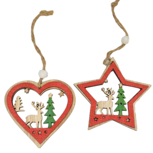 set of heart and star wooden christmas decorations