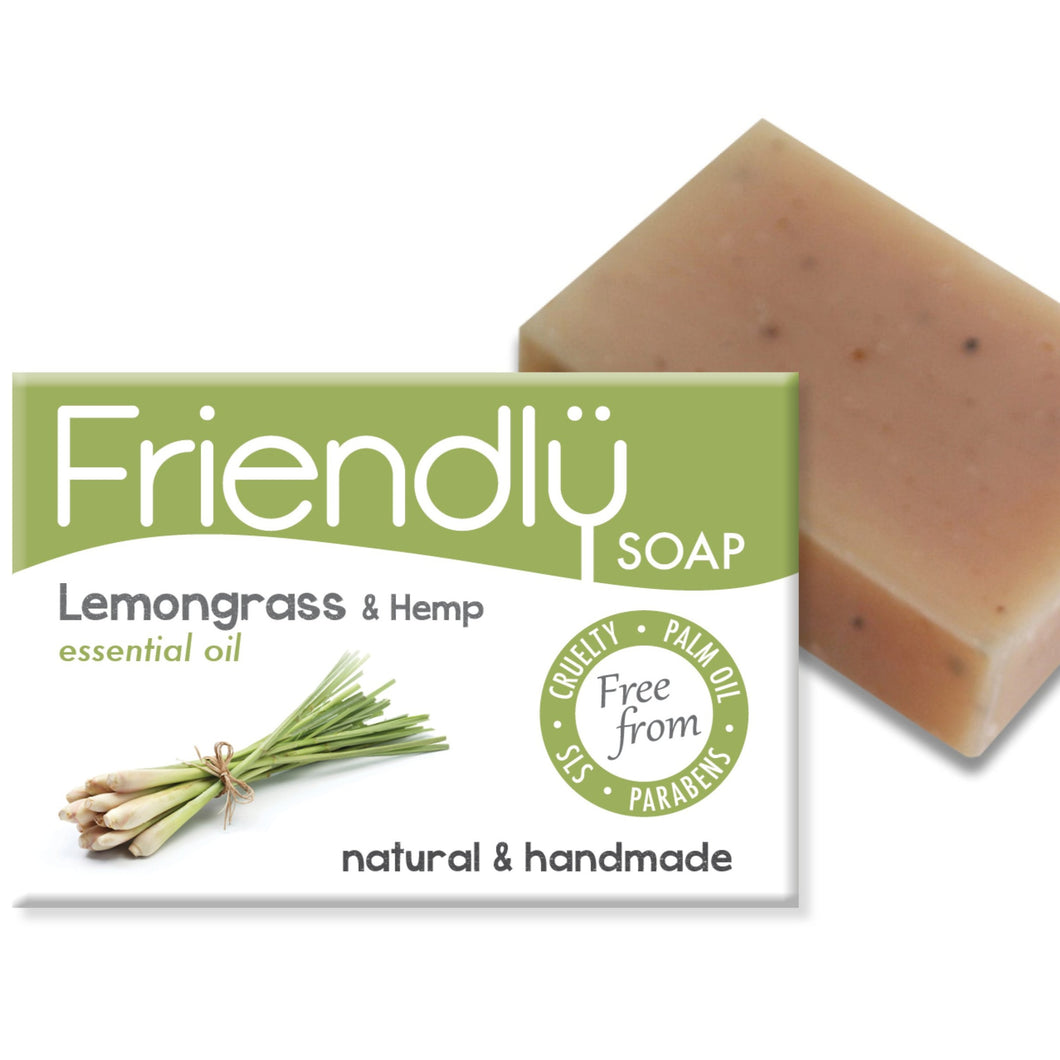 Lemon grass and hemp soap bar, plastic free packaging