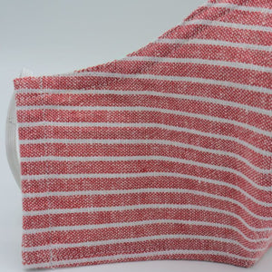 red and white stripped cotton face mask