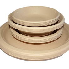 Load image into Gallery viewer, Compostable wheat fibre plates & bowls set 40 pack