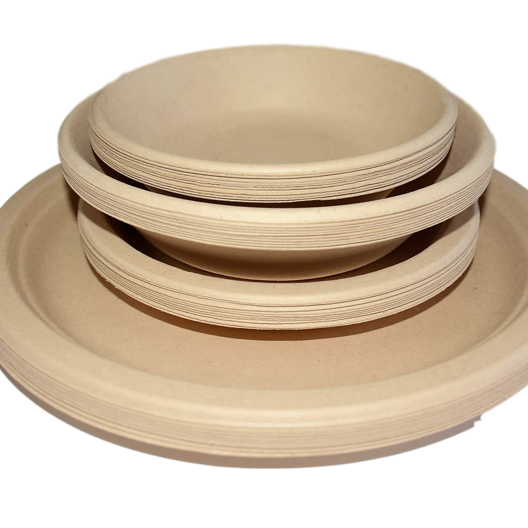 Compostable wheat fibre plates & bowls set 40 pack
