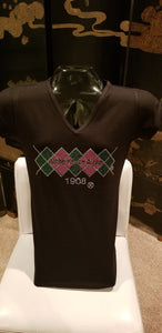 AKA ARGYLE BLACK V-NECK FITTED TEE - CLEARANCE !!