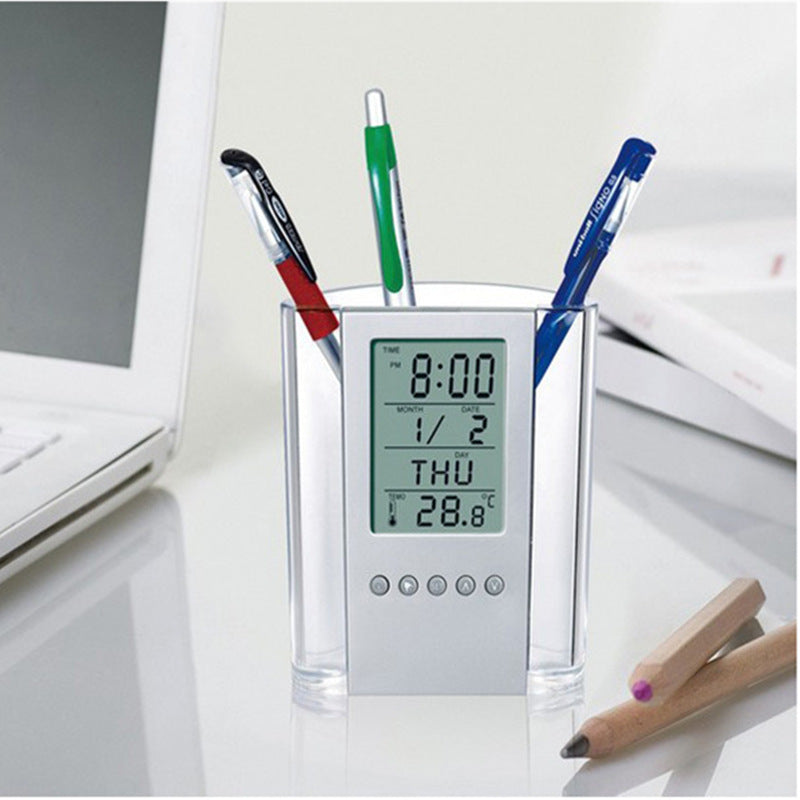 Customised Digital Clock  Plastic Pen Holder ,  corporate gifts