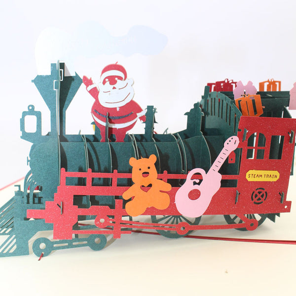 Customised Santa Claus train 3D stereo greeting gift card ,  corporate gifts