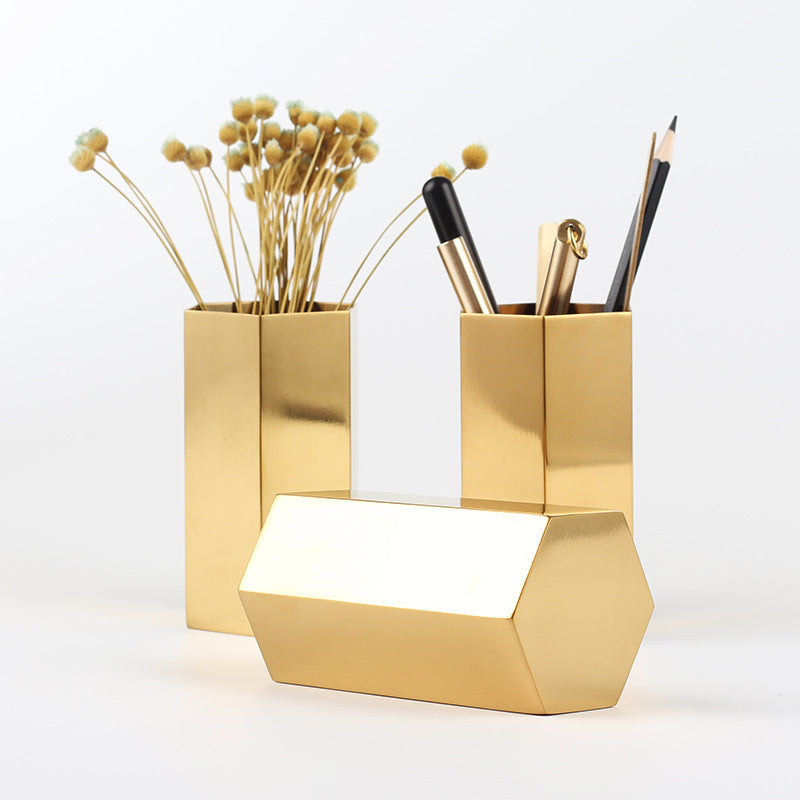 Customised European Golden Stainless Steel Hexagonal Pen Holder ,  corporate gifts