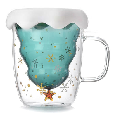 Customised Christmas Tree Star Water Glass High Temperature Resistant Mug ,  corporate gifts