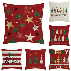 Customised Red Christmas flax peach skin pillowcase cushion ,  corporate gifts