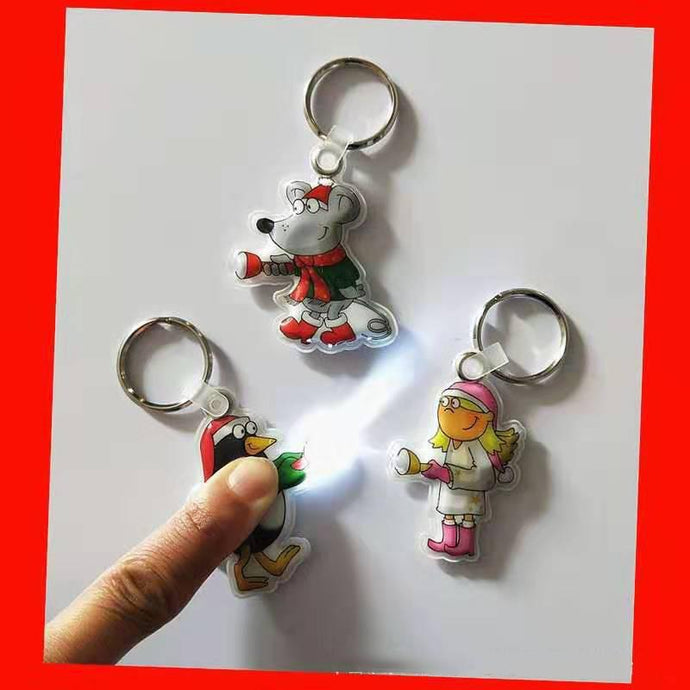 Customised Reflective PVC Starry LED Light Key Chain ,  corporate gifts