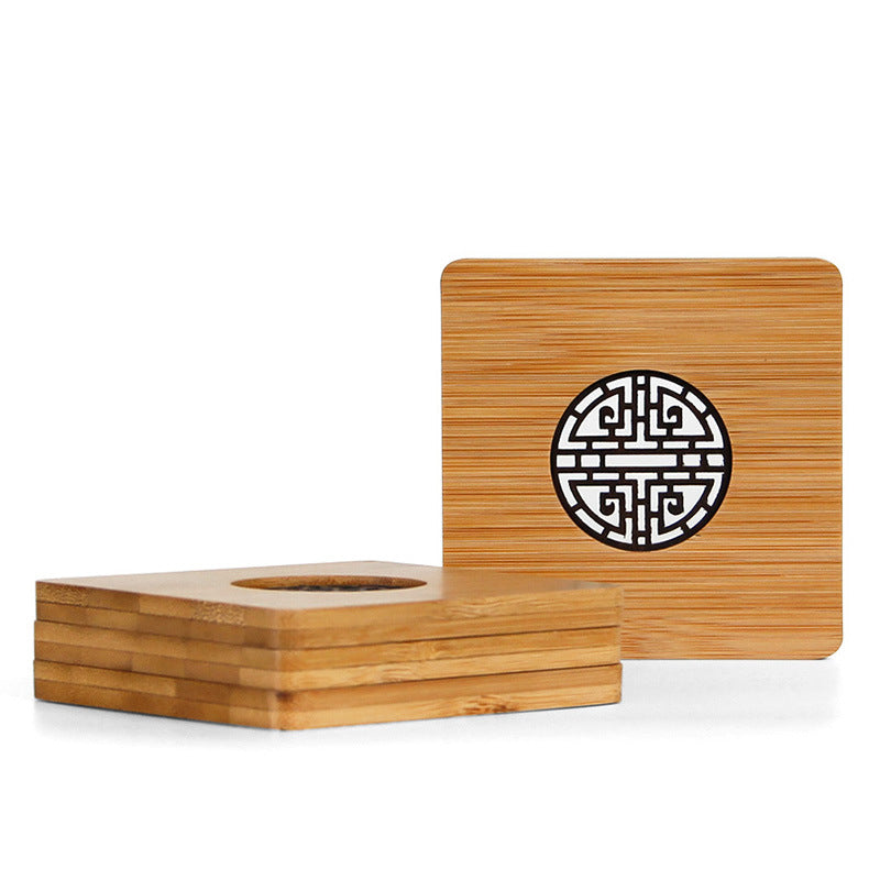 Customised Bamboo Chinese style  cup holder , Cup Mat corporate gifts