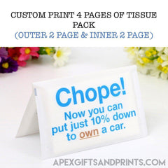 Customised Custom Wallet Tissue ,  corporate gifts