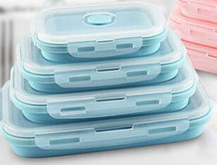 Customised Fordable Silicone Lunch Box Microwavable and Leak proof , foldable silicone lunch box corporate gifts
