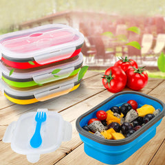 Corporate Gifts - Microwaveable Foldable Lunch Box With Spoon and Fork foldable silicone lunch box