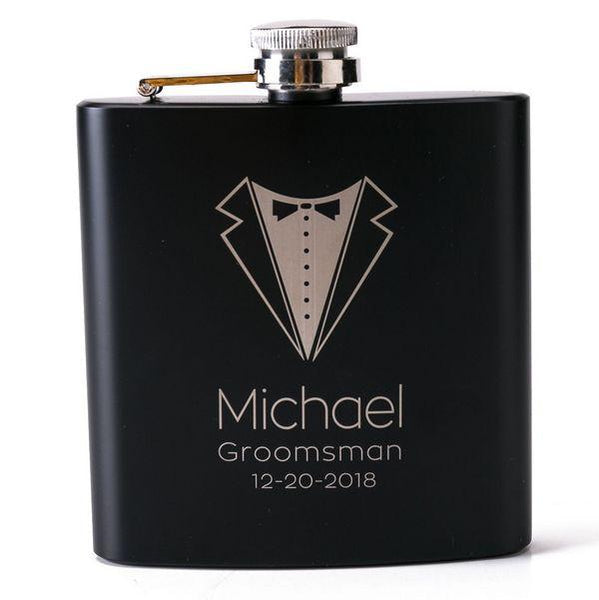 Customised 6oz black stainless steel hip flask ,  corporate gifts