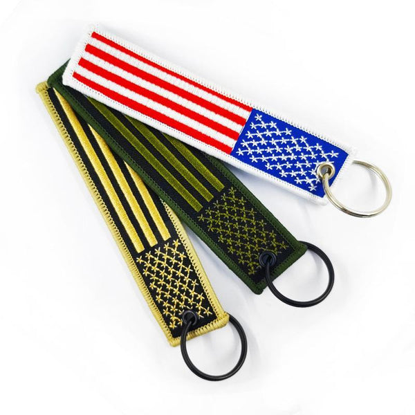 Customised American flag embroidered key chain pendant ,  corporate gifts