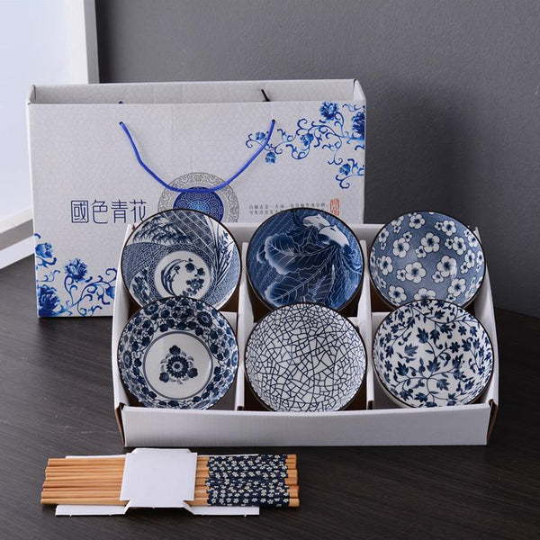 Customised Blue and White Porcelain Ceramic Bowl Set ,  corporate gifts