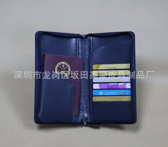 Customised Long zip leather passport bag ,  corporate gifts