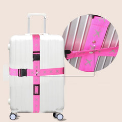 Customised Travel luggage packed with cross-tied suitcase Strap ,  corporate gifts