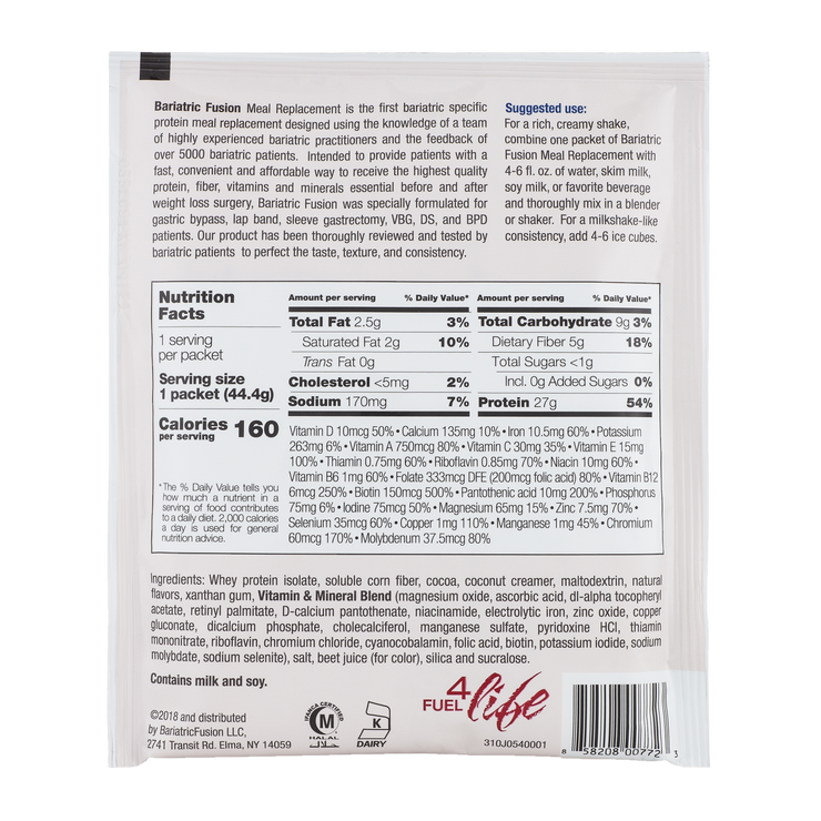 Red Velvet High Protein Meal Replacement - Single Serve Packet - Bariatric Fusion