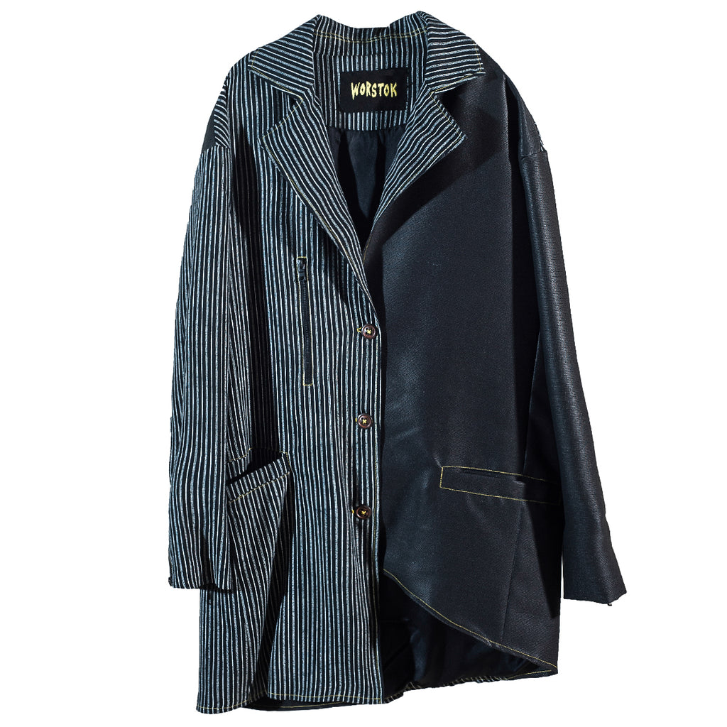 Waxed Pinstripe Coat