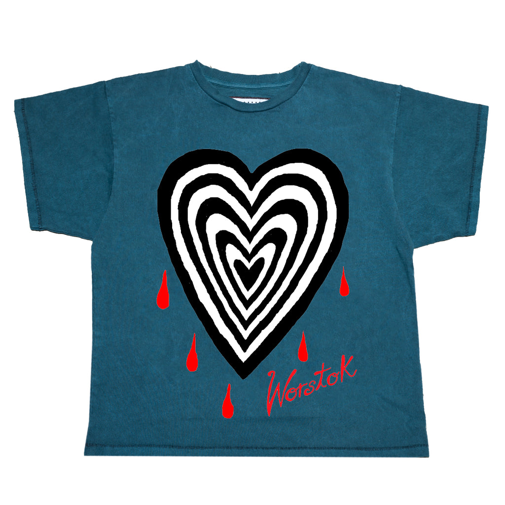 """Heartbreak"" Box T-Shirt (Turquoise)"