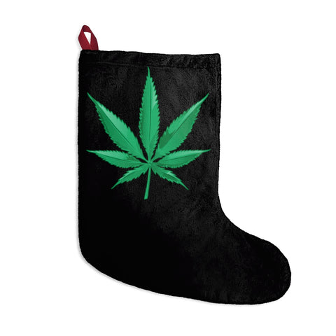 Marijuana Weed Leaf Black Christmas Stocking