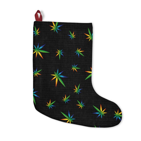 Multi-Color Weed Pattern Black Christmas Stockings