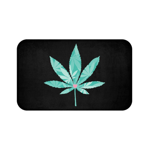 Heart Weed Black Bath Mats - 420 Mile High