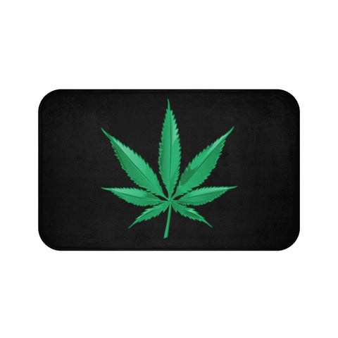 Marijuana Black Bath Mats - 420 Mile High